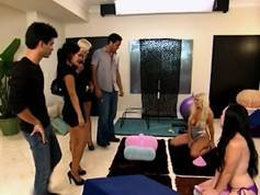 Swingers party down with Sybian machine