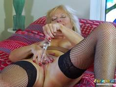 Hot Milf Blonde Playing Alone with Dildo