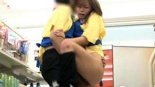 Submissive japanese teen sucking and fucking in public
