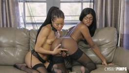 Hot Ebony Lesbian Babes Eating Out and Toying Their Wet Pussies