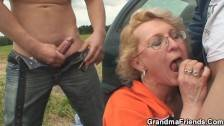 picked up sexy gilf takes double penetration outdoors