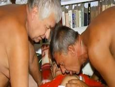 OmaHoteL Two Guys Playing with One Hairy Grandma
